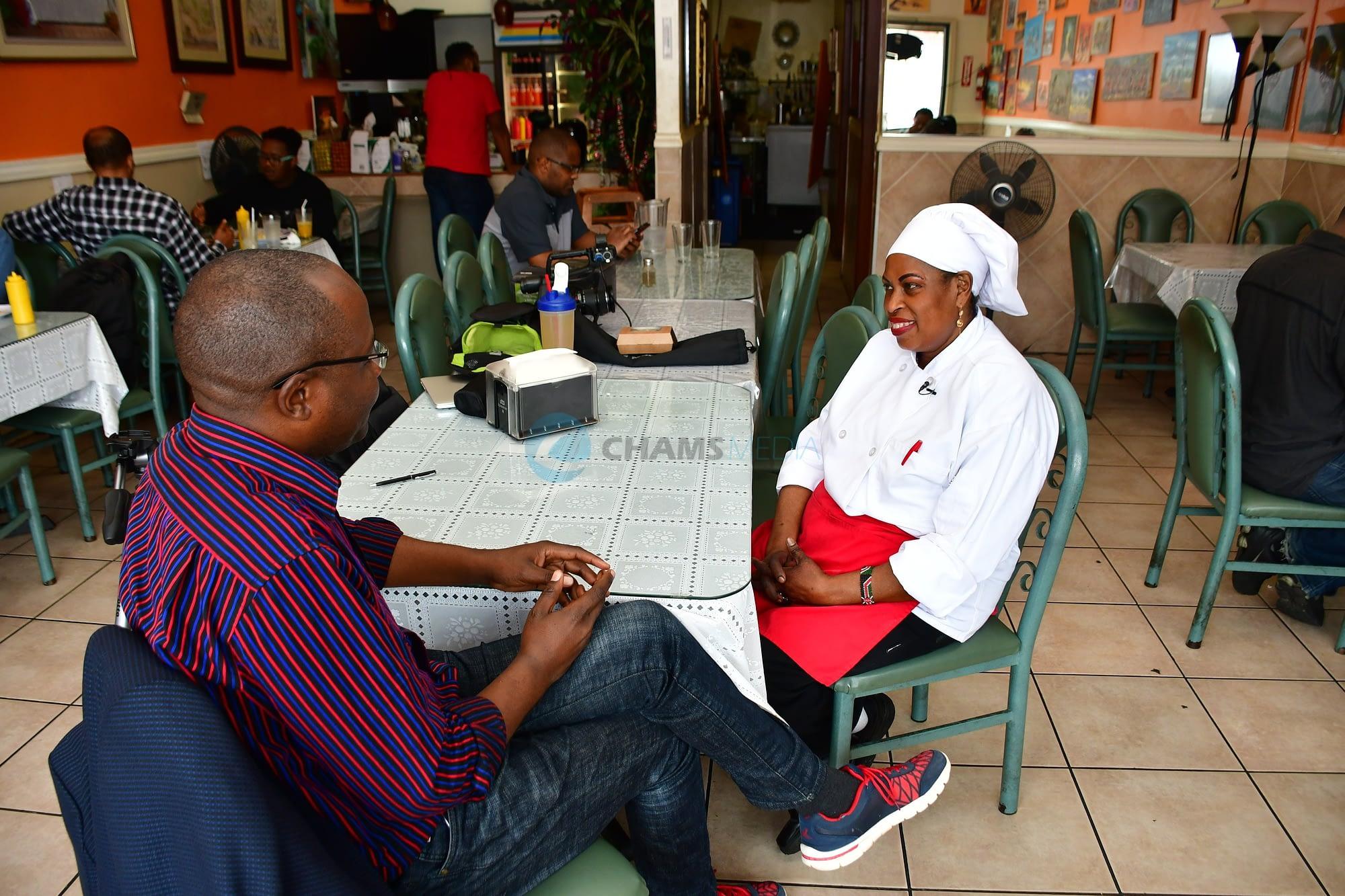 CHAMS Media CEO Alex Chamwada interviewing Jane Kagira, Kenyan Restaurant Owner in Seattle City, USA in June 2018