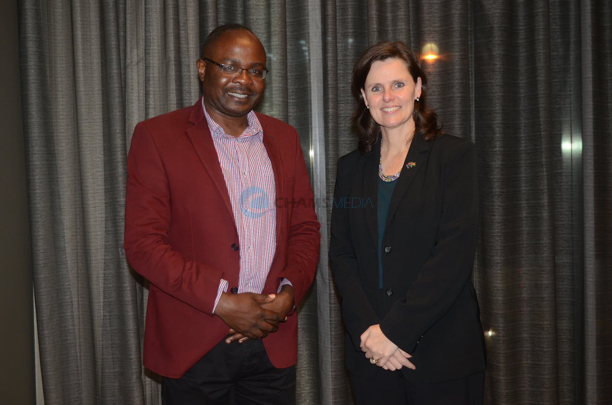 CHAMS Media CEO Alex Chamwada with Australia's High Commissioner to Kenya Alison Chartress in Perth City September 2019 during the Africa Oil, Gas and Energy Conference