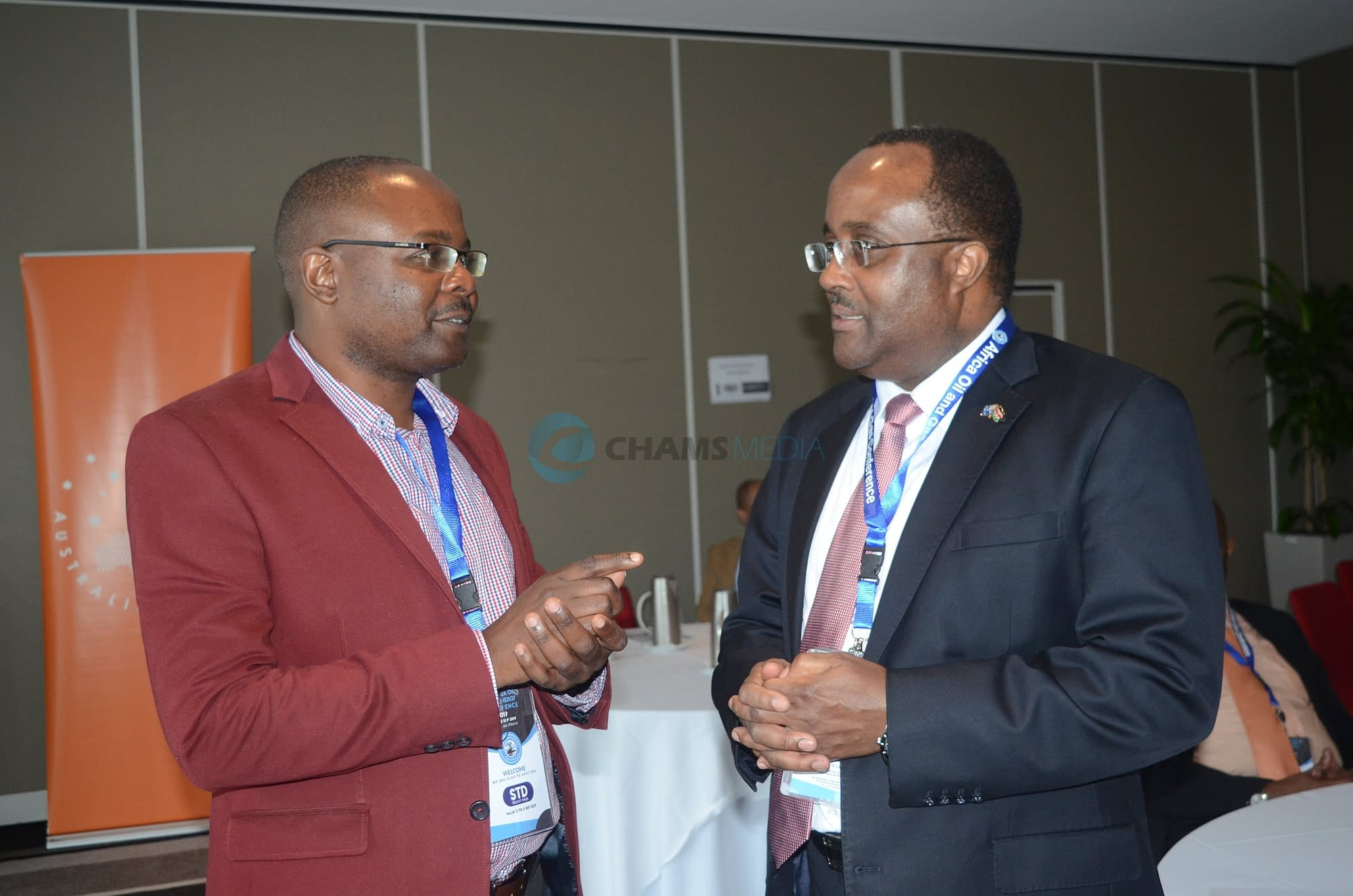 CHAM Media CEO with Kenya's High Commissioner to Australia and New Zealand Isaiya Kabira in Perth City in September 2019 during the Africa Oil, Gas and Energy Conference
